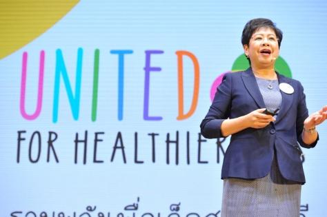 """ออดรีย์ เลียว ประธานกรรมการและประธานคณะผู้บริหาร เนสท์เล่ อินโดไชน่า กล่าวแนะนำโครงการ """"รวมพลังเพื่อเด็กสุขภาพดี"""" (United for Healthier Kids) (1) (800x533)"""